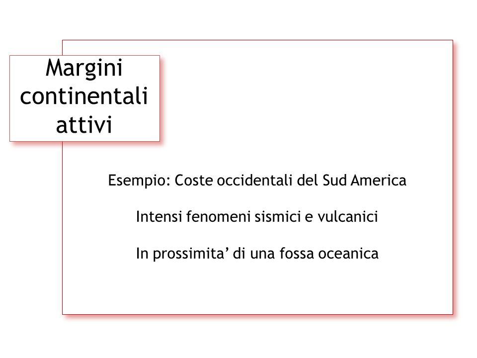 Margini continentali attivi Esempio: Coste occidentali del Sud America