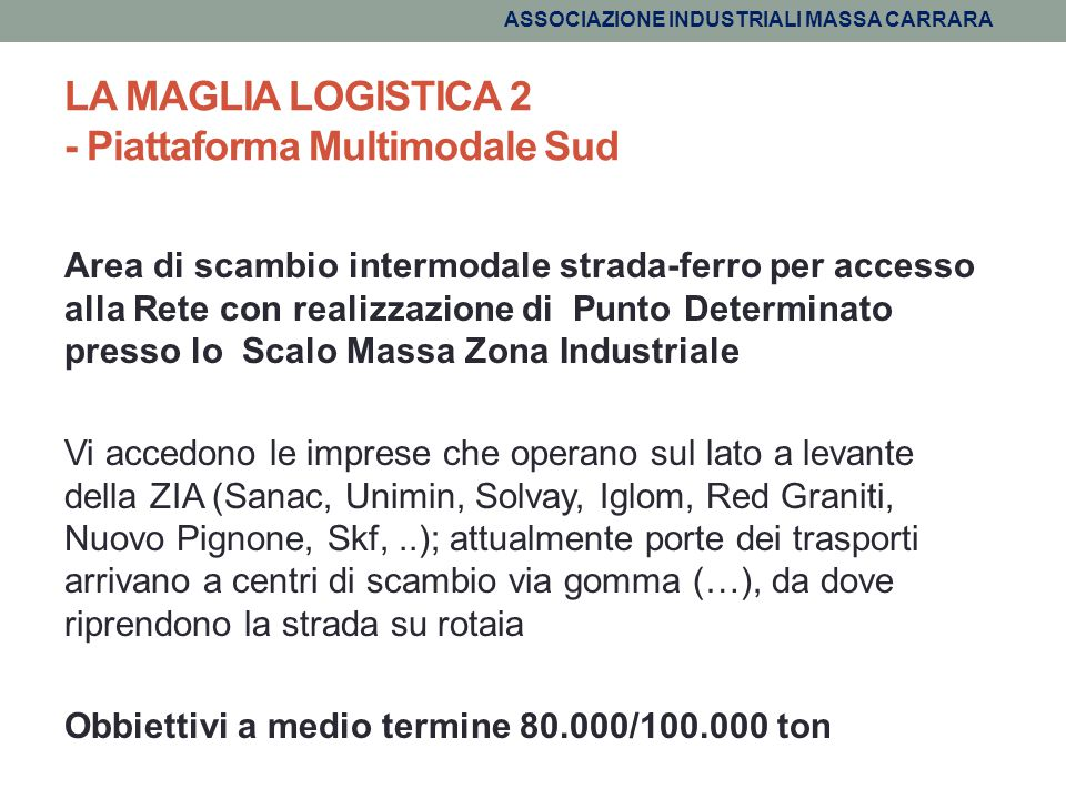 LA MAGLIA LOGISTICA 2 - Piattaforma Multimodale Sud