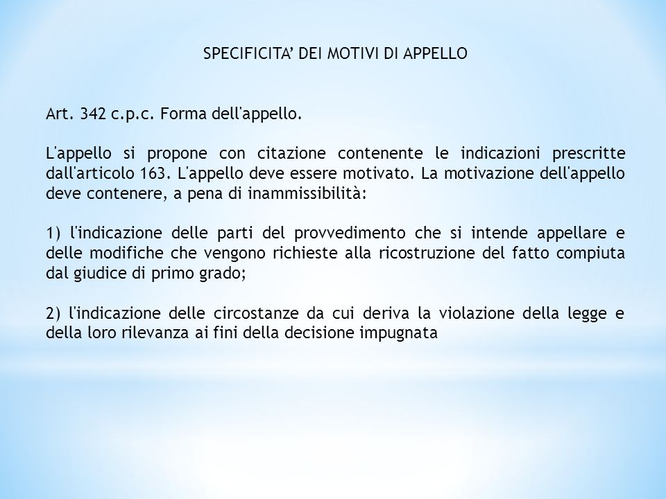SPECIFICITA' DEI MOTIVI DI APPELLO