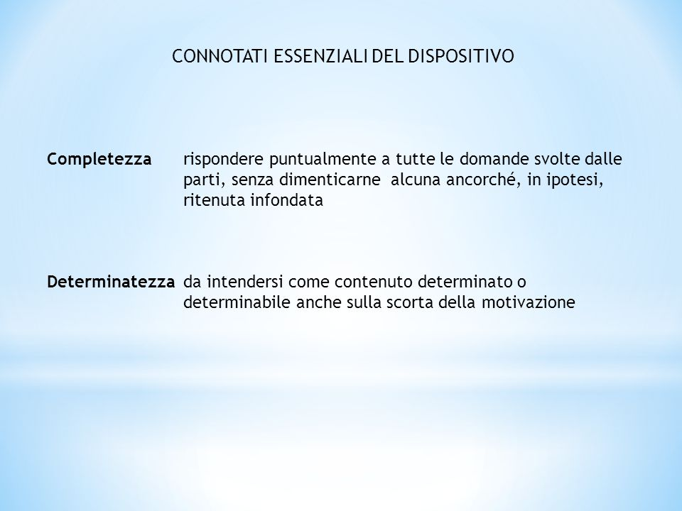 CONNOTATI ESSENZIALI DEL DISPOSITIVO