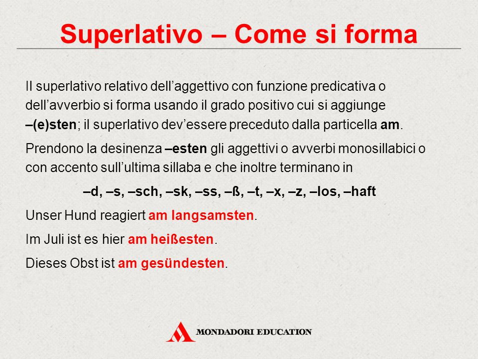 Superlativo – Come si forma