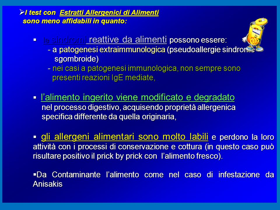 I test con Estratti Allergenici di Alimenti