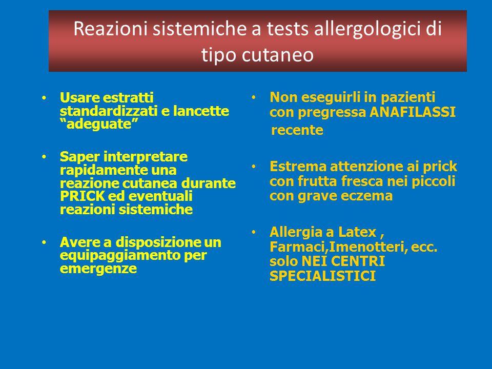 Reazioni sistemiche a tests allergologici di tipo cutaneo