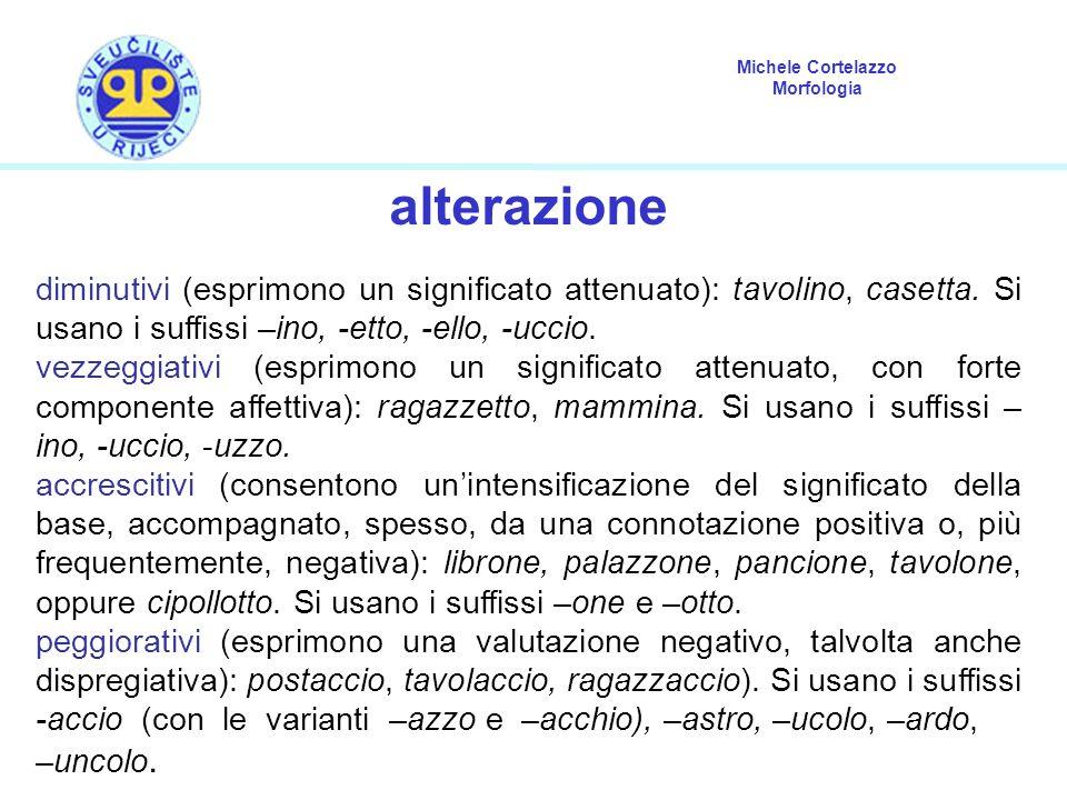 alterazione diminutivi (esprimono un significato attenuato): tavolino, casetta. Si usano i suffissi –ino, -etto, -ello, -uccio.