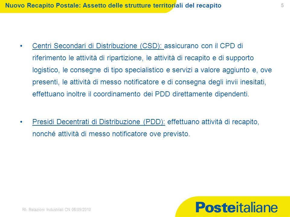 Nuovo Recapito Postale: Assetto delle strutture territoriali del recapito