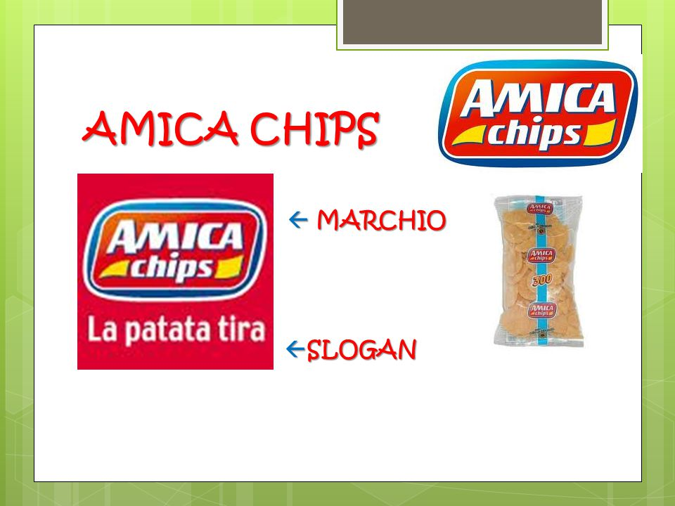 AMICA CHIPS  MARCHIO SLOGAN