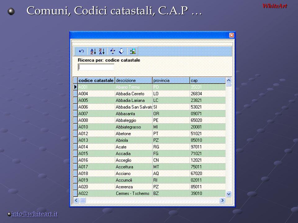 Comuni, Codici catastali, C.A.P …