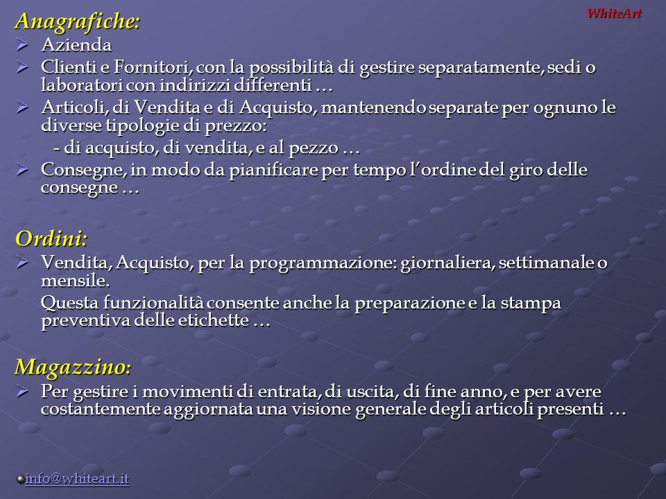 Anagrafiche: Ordini: Magazzino: Azienda