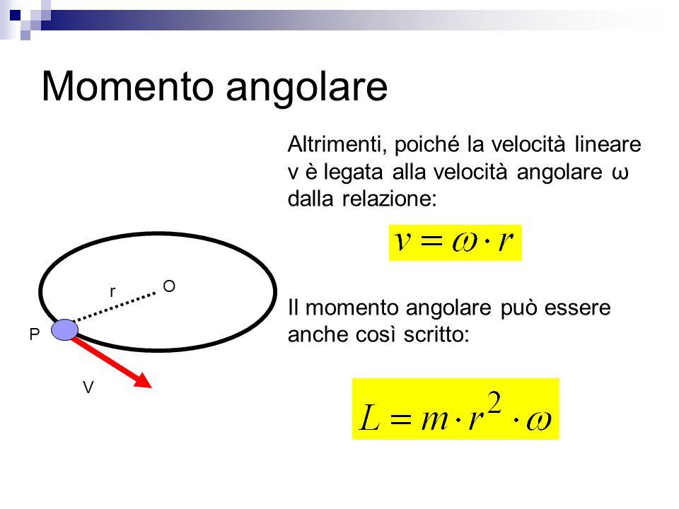 Momento angolare Altrimenti, poiché la velocità lineare v è legata alla velocità angolare ω dalla relazione: