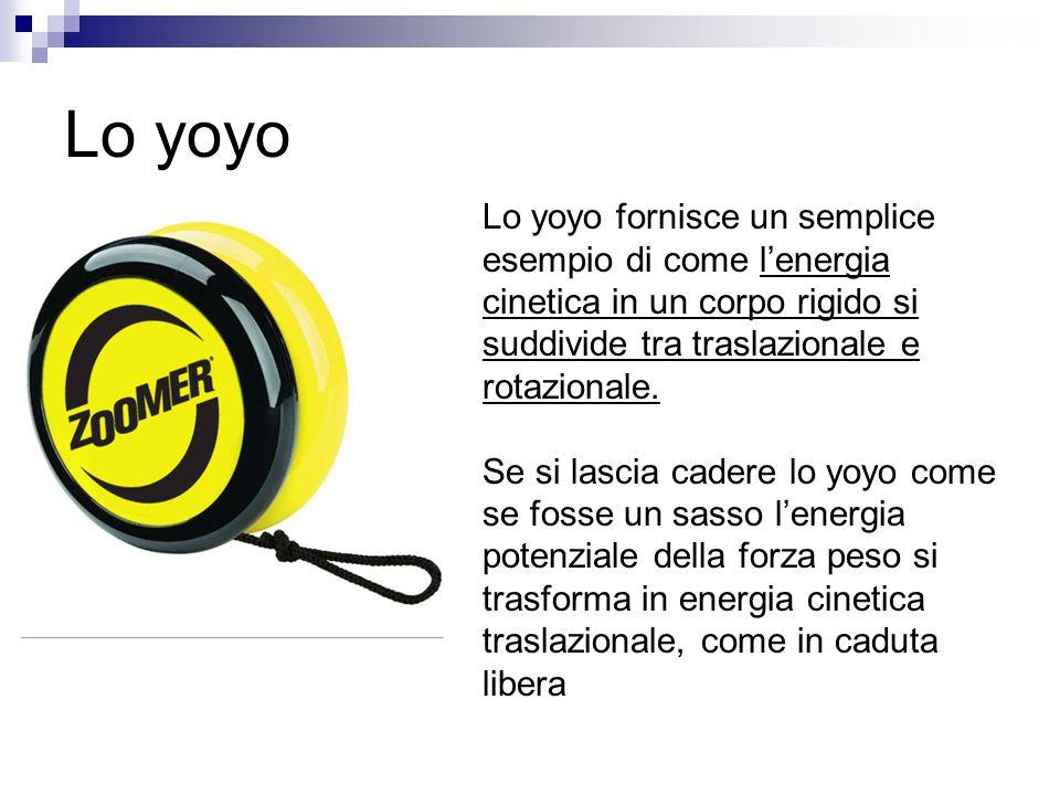 Lo yoyo Lo yoyo fornisce un semplice esempio di come l'energia cinetica in un corpo rigido si suddivide tra traslazionale e rotazionale.