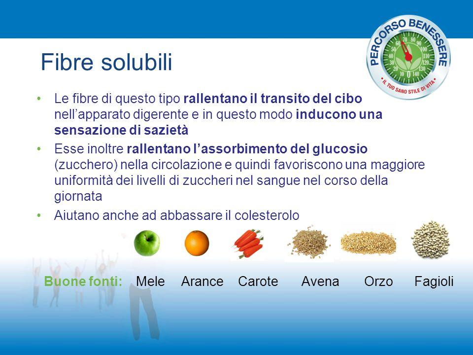 Fibre solubili Le fibre di questo tipo rallentano il transito del cibo nell'apparato digerente e in questo modo inducono una sensazione di sazietà.