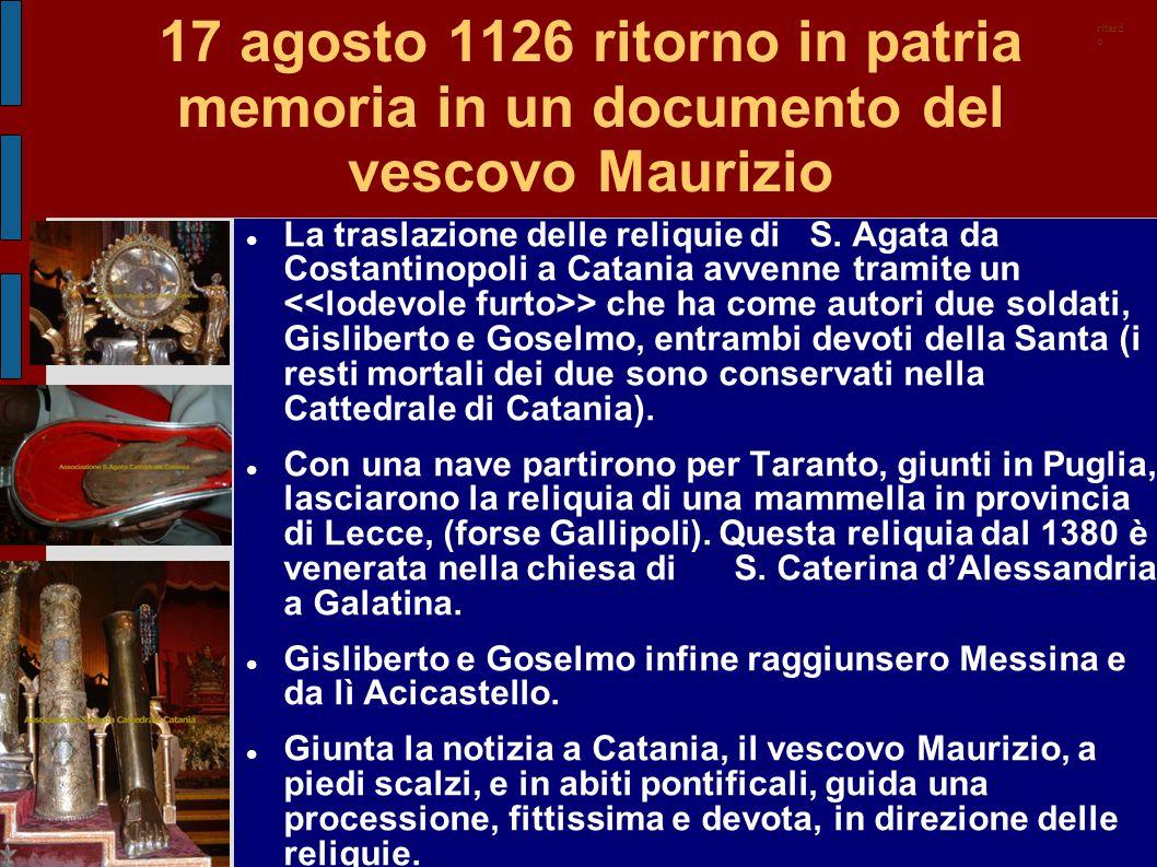 17 agosto 1126 ritorno in patria memoria in un documento del vescovo Maurizio