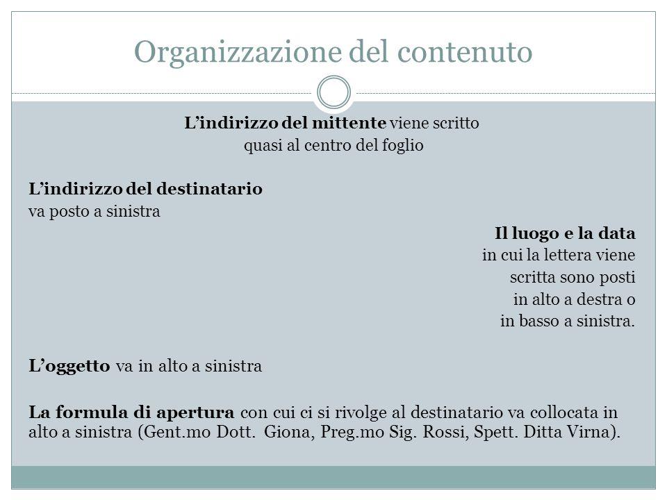 Organizzazione del contenuto