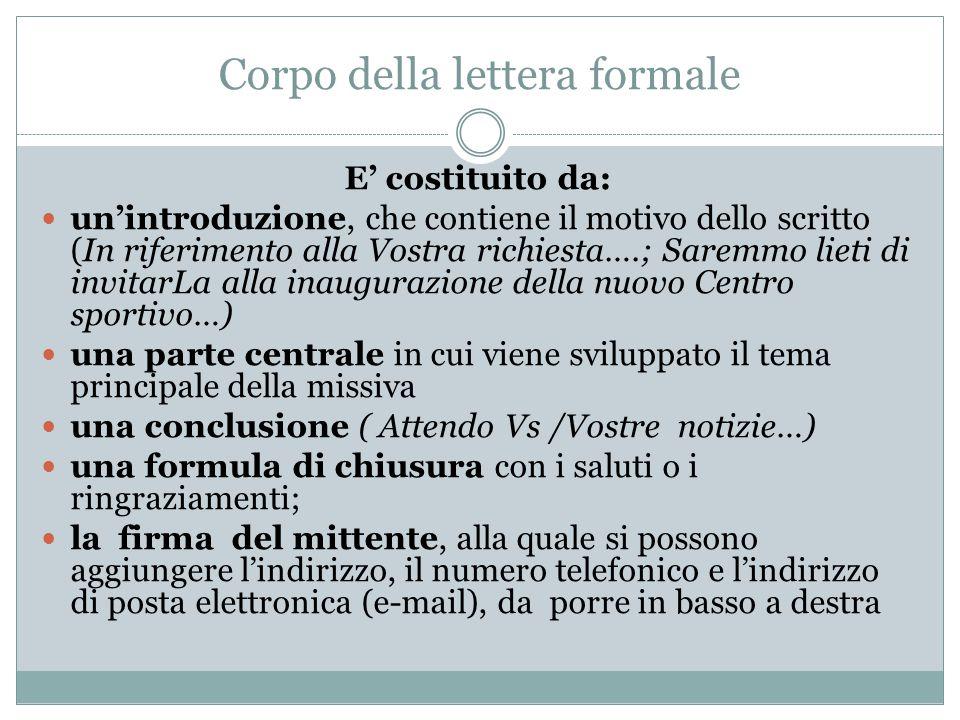 Corpo della lettera formale