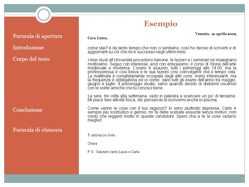 Esempio Formula di apertura Introduzione Corpo del testo Conclusione