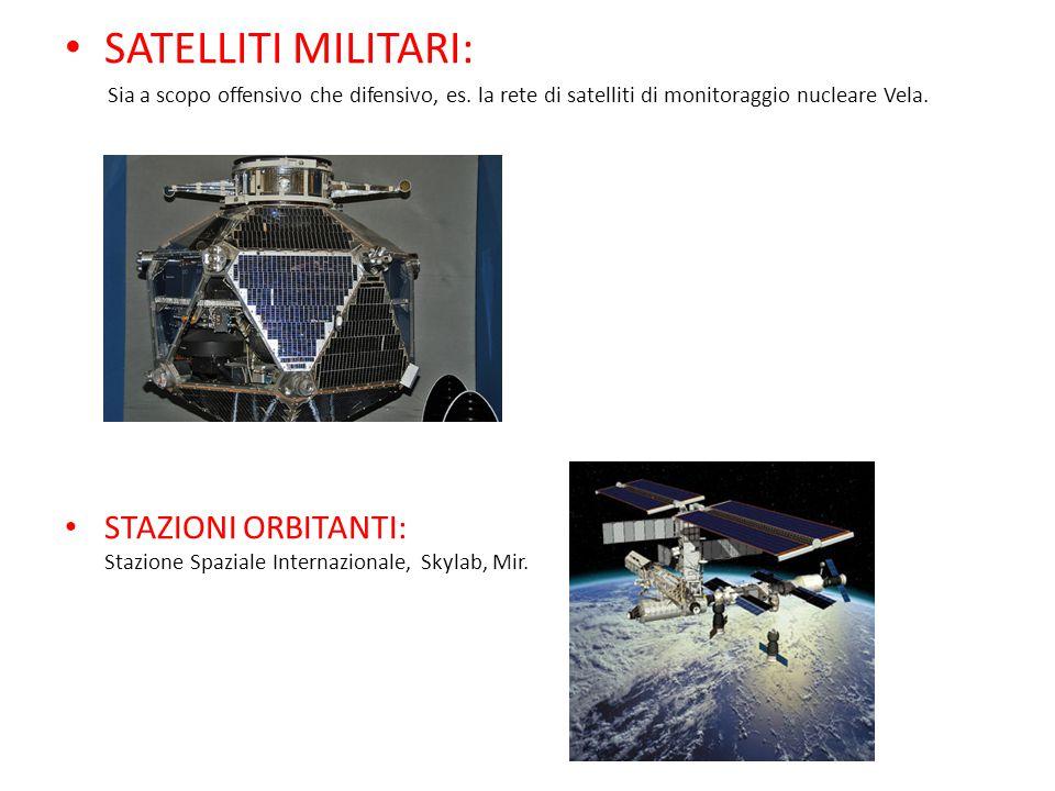 SATELLITI MILITARI: Sia a scopo offensivo che difensivo, es. la rete di satelliti di monitoraggio nucleare Vela.