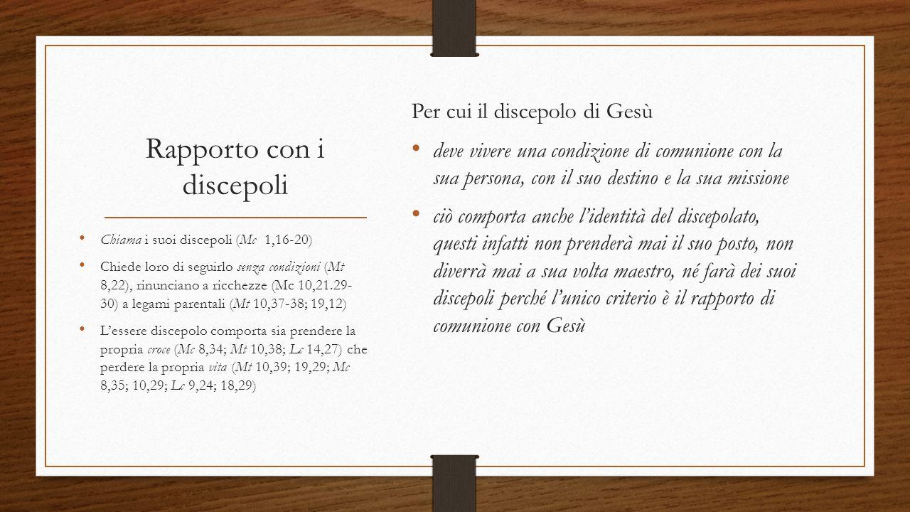 Rapporto con i discepoli