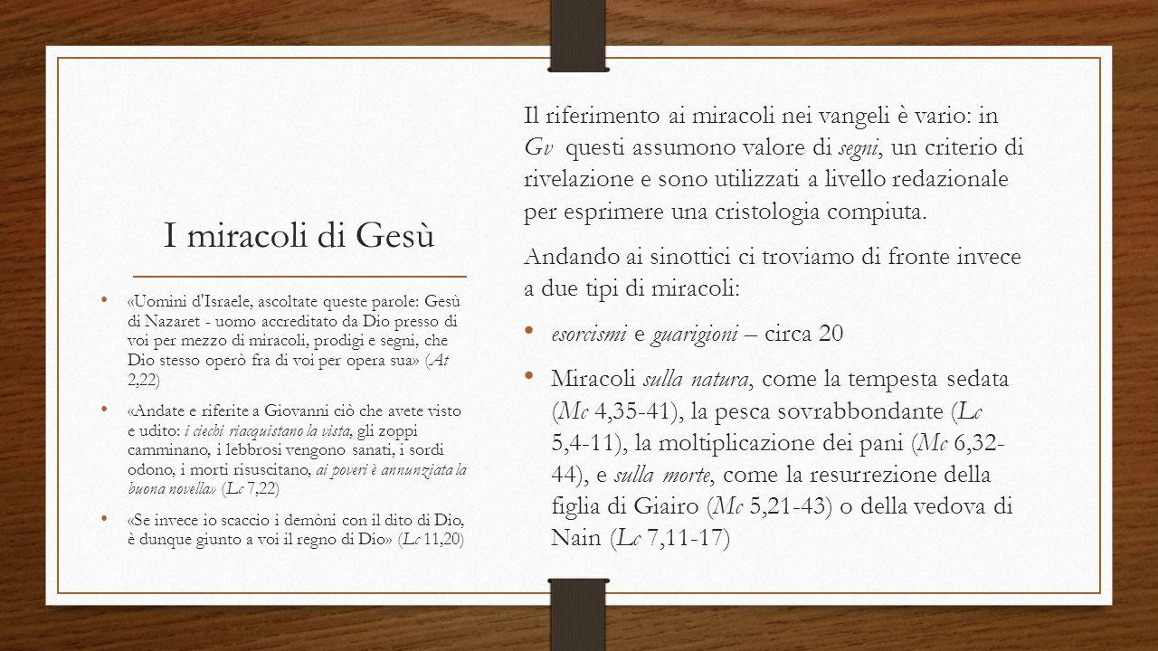 Il riferimento ai miracoli nei vangeli è vario: in Gv questi assumono valore di segni, un criterio di rivelazione e sono utilizzati a livello redazionale per esprimere una cristologia compiuta.