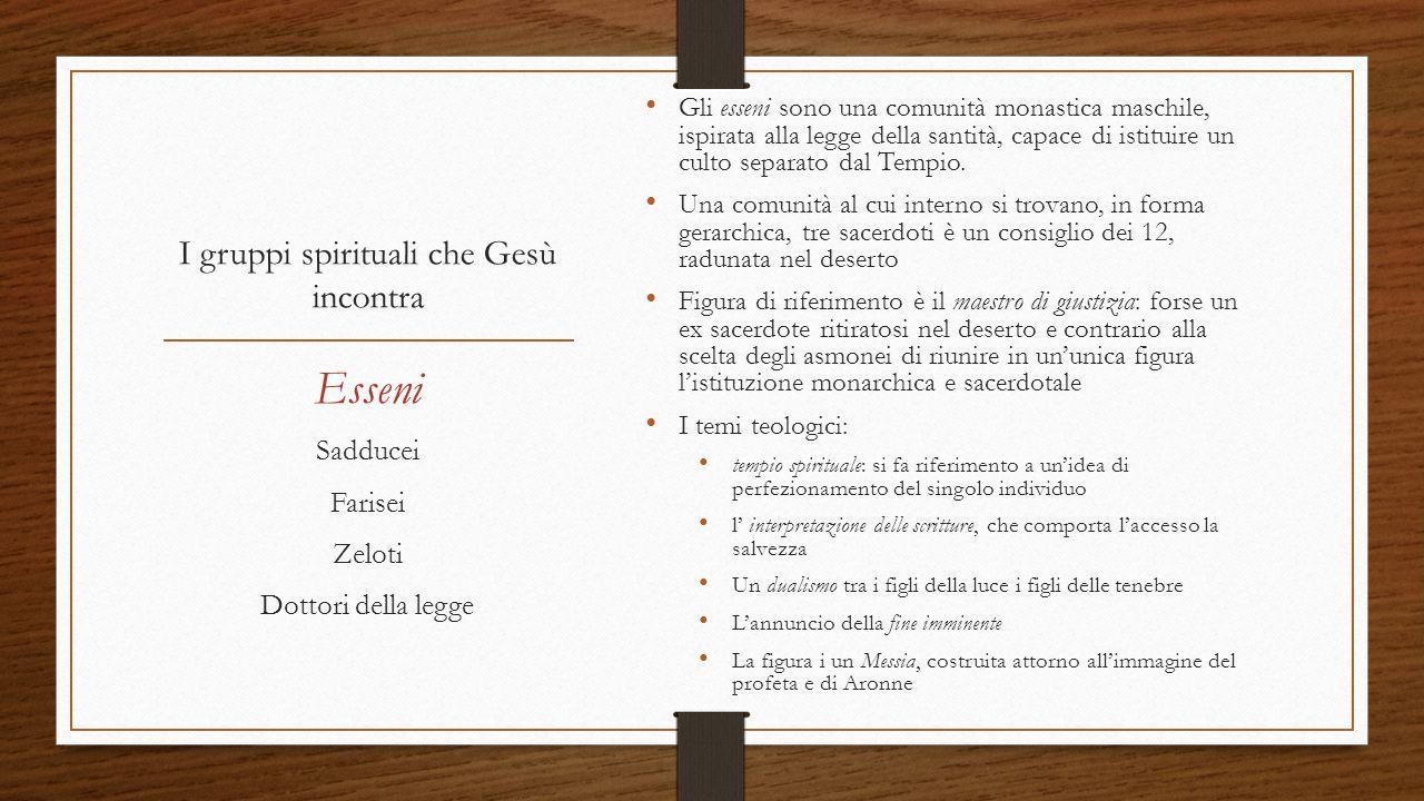 I gruppi spirituali che Gesù incontra
