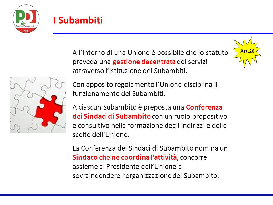 I Subambiti All'interno di una Unione è possibile che lo statuto preveda una gestione decentrata dei servizi attraverso l'istituzione dei Subambiti.