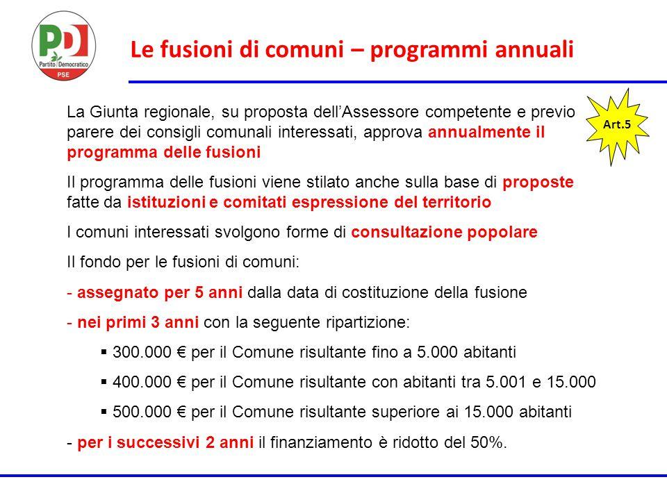 Le fusioni di comuni – programmi annuali