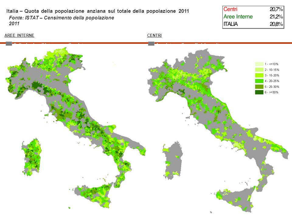 Italia – Quota della popolazione anziana sul totale della popolazione 2011
