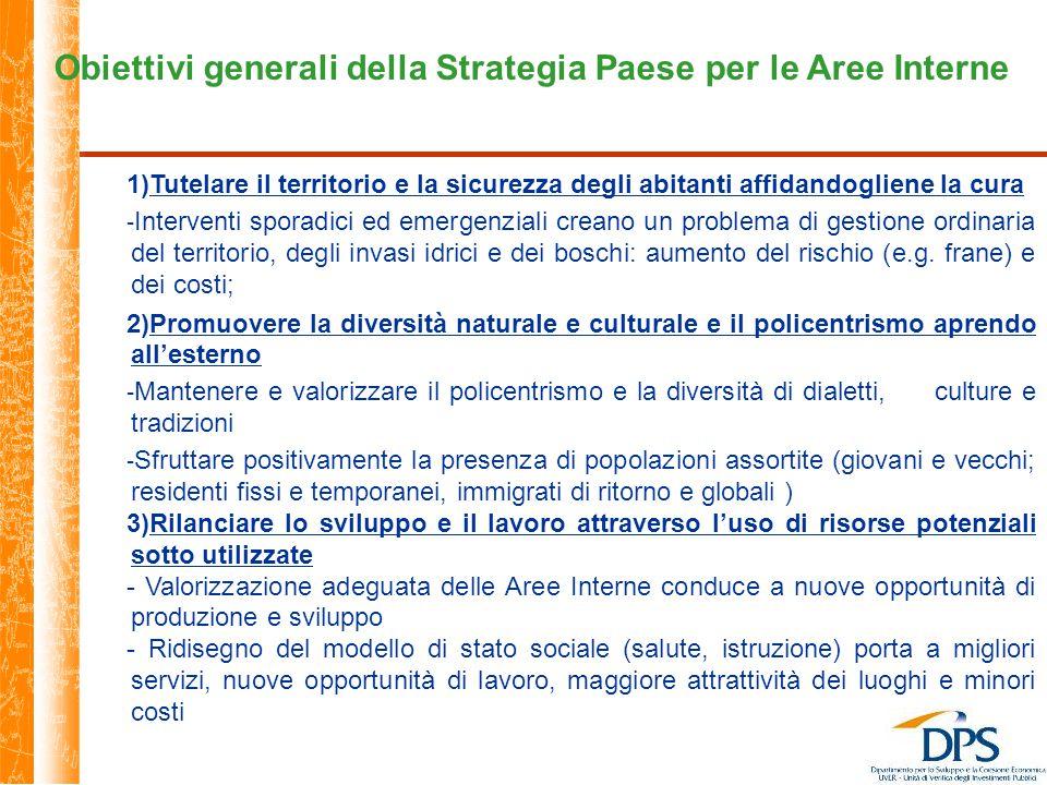 Obiettivi generali della Strategia Paese per le Aree Interne