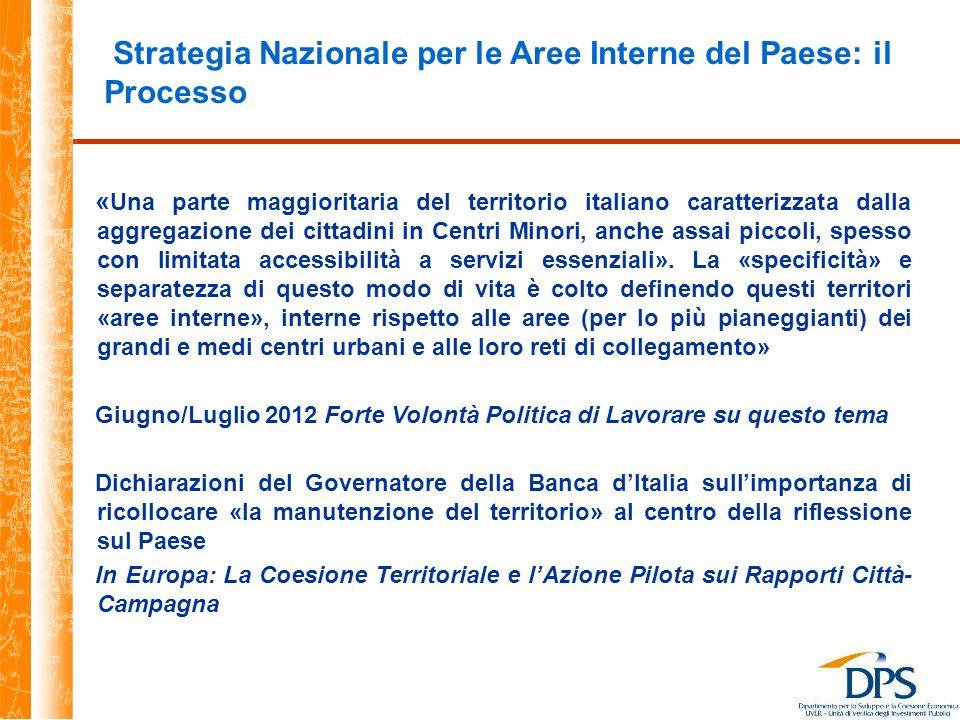Strategia Nazionale per le Aree Interne del Paese: il Processo