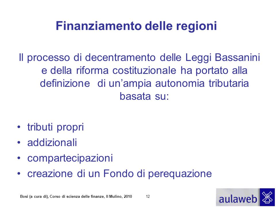 Finanziamento delle regioni