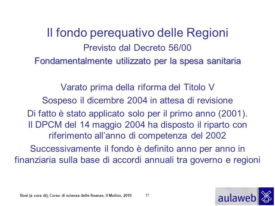 Il fondo perequativo delle Regioni