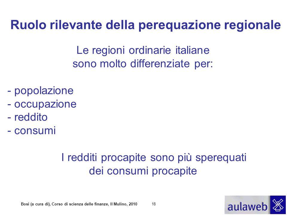 Ruolo rilevante della perequazione regionale