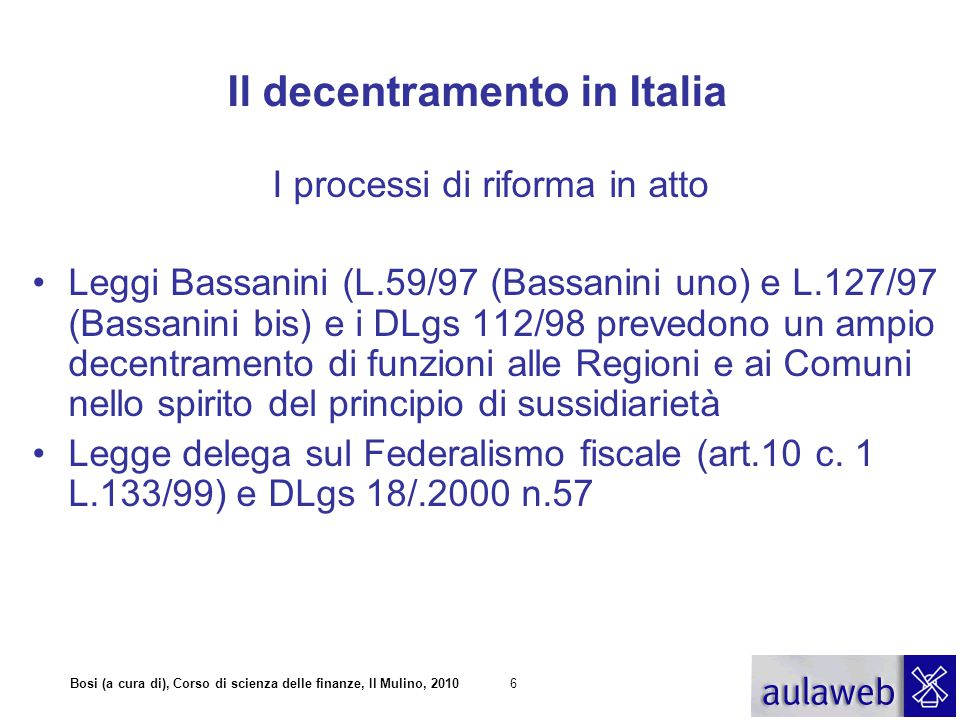 Il decentramento in Italia