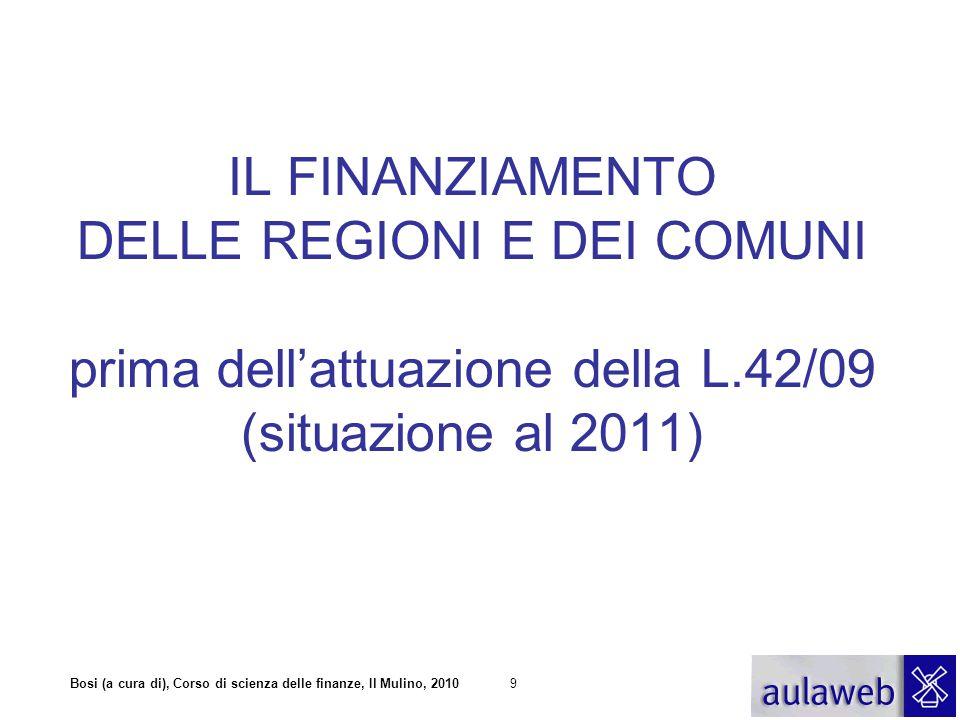 IL FINANZIAMENTO DELLE REGIONI E DEI COMUNI prima dell'attuazione della L.42/09 (situazione al 2011)