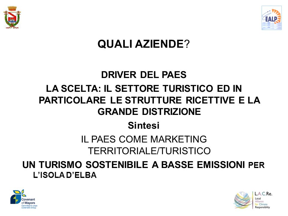 IL PAES COME MARKETING TERRITORIALE/TURISTICO