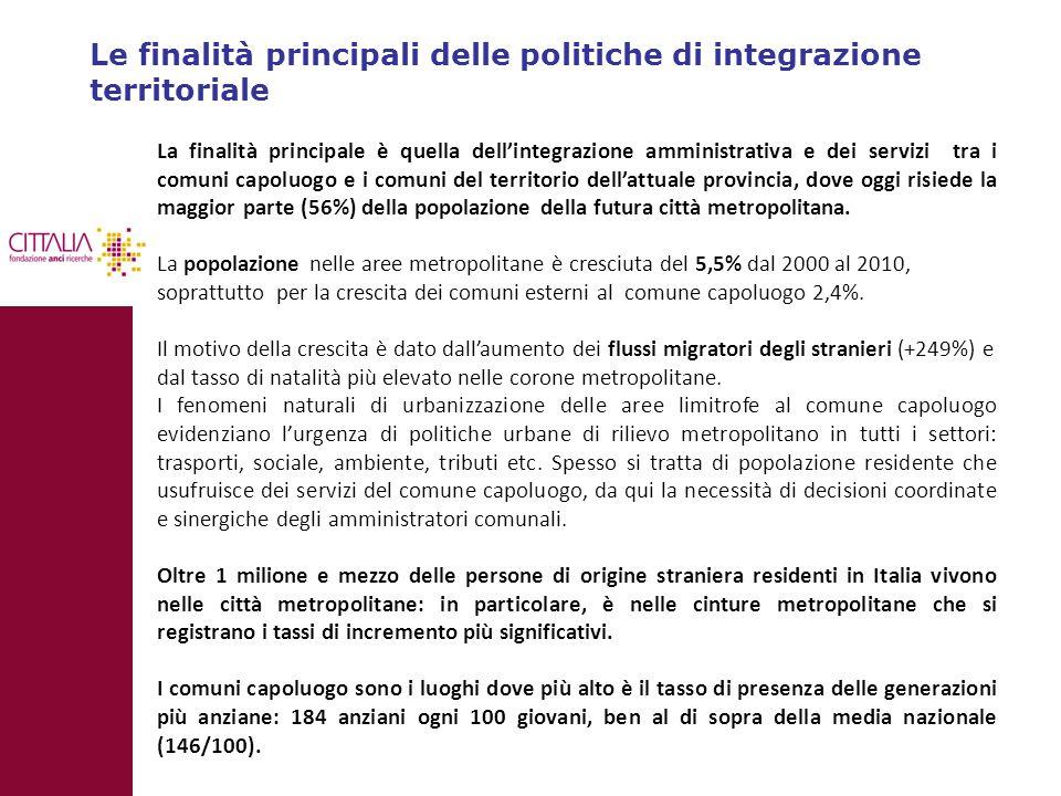 Le finalità principali delle politiche di integrazione territoriale
