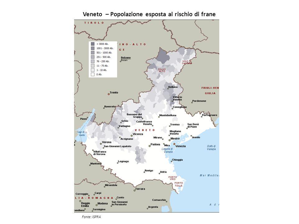 Veneto – Popolazione esposta al rischio di frane