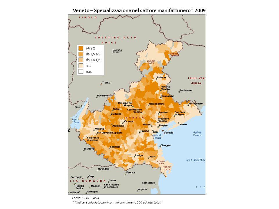 Veneto – Specializzazione nel settore manifatturiero* 2009
