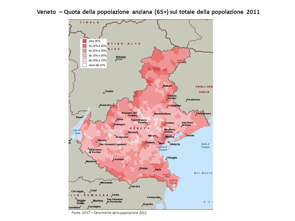 Veneto – Quota della popolazione anziana (65+) sul totale della popolazione 2011