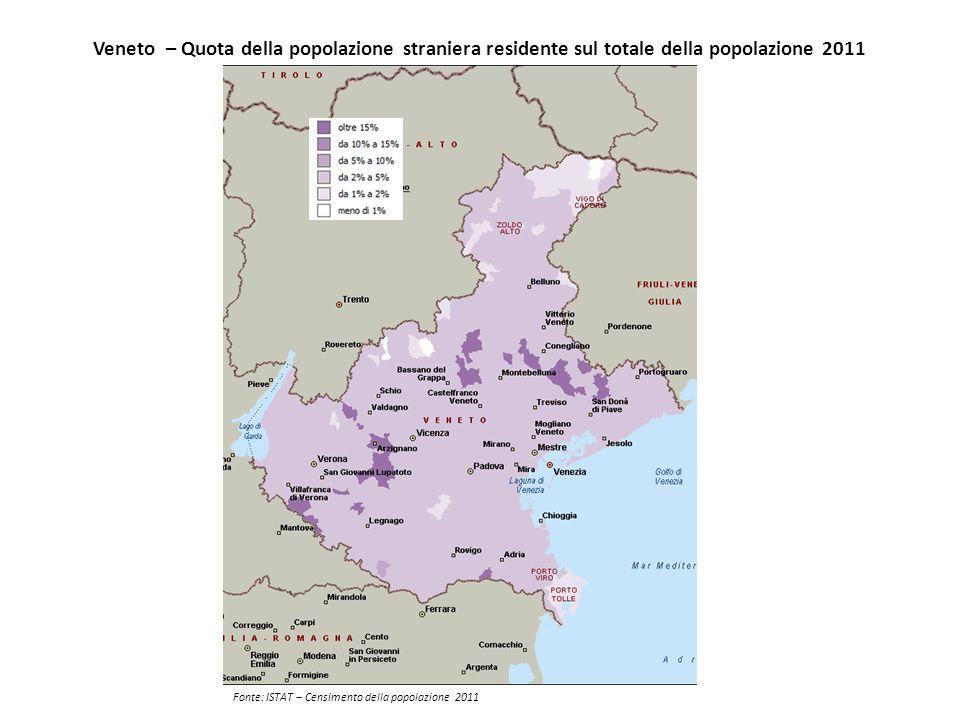 Veneto – Quota della popolazione straniera residente sul totale della popolazione 2011