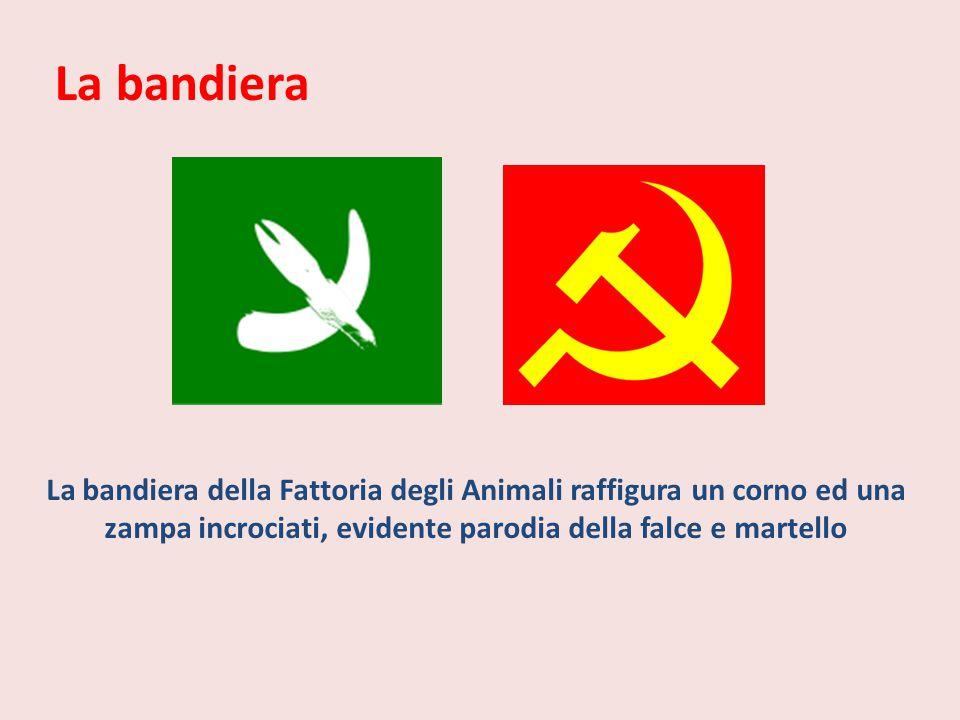 La bandiera La bandiera della Fattoria degli Animali raffigura un corno ed una zampa incrociati, evidente parodia della falce e martello.
