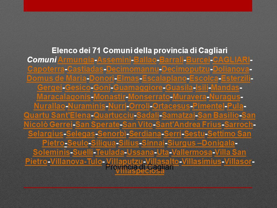 Elenco dei 71 Comuni della provincia di Cagliari