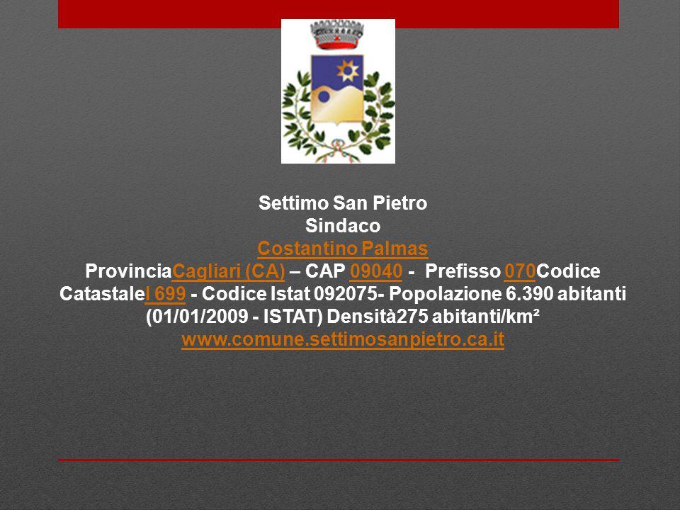 Settimo San Pietro Sindaco. Costantino Palmas.
