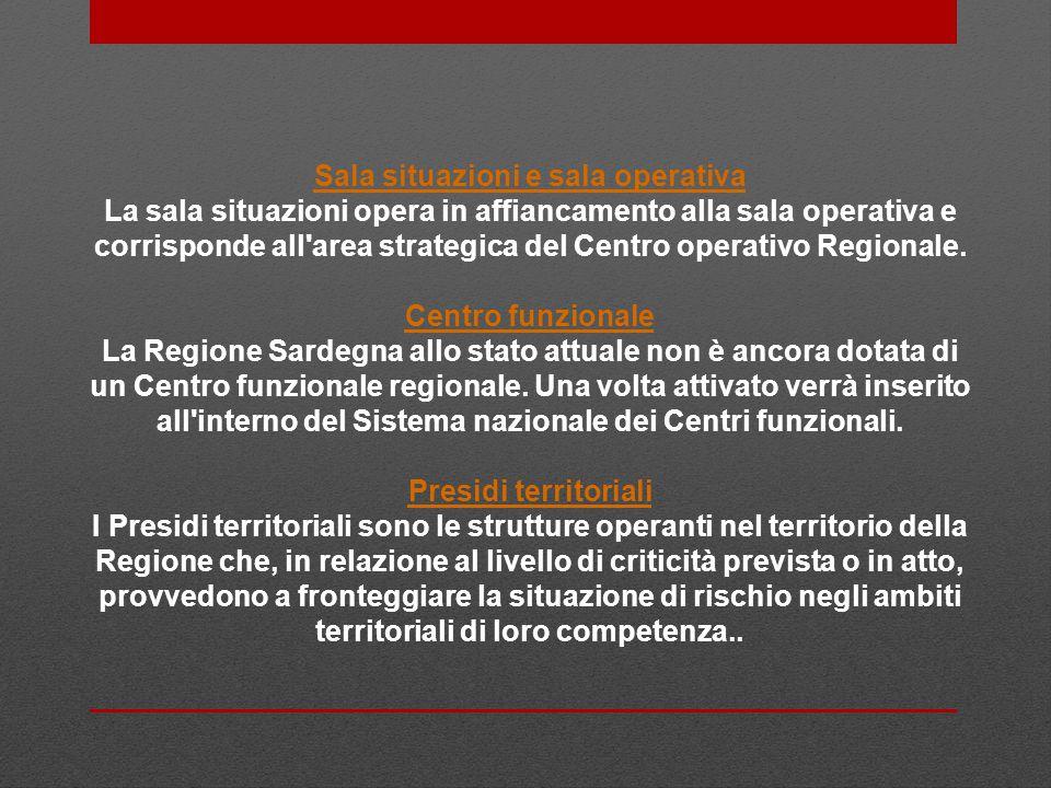 Sala situazioni e sala operativa La sala situazioni opera in affiancamento alla sala operativa e corrisponde all area strategica del Centro operativo Regionale.