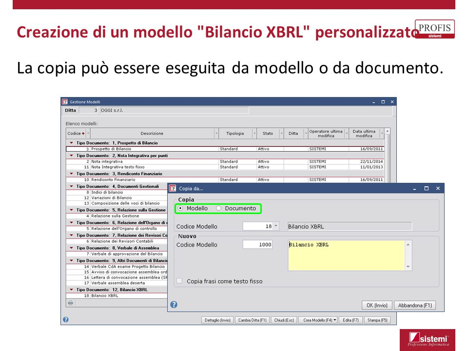 Creazione di un modello Bilancio XBRL personalizzato