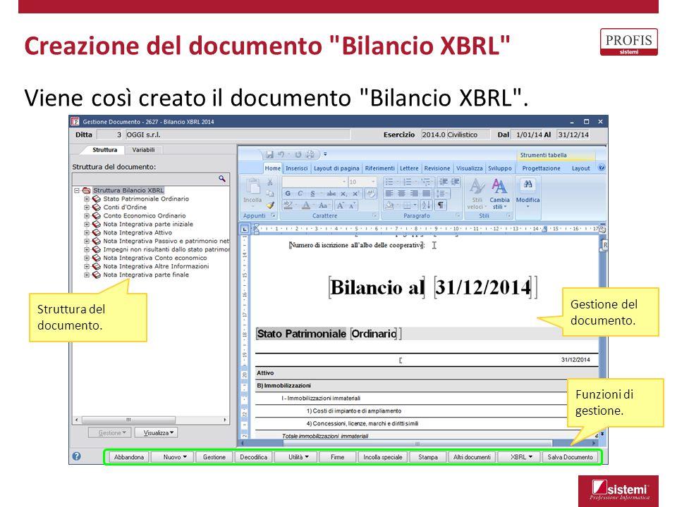 Creazione del documento Bilancio XBRL