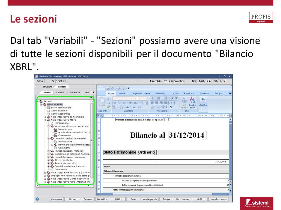 Le sezioni Dal tab Variabili - Sezioni possiamo avere una visione di tutte le sezioni disponibili per il documento Bilancio XBRL .