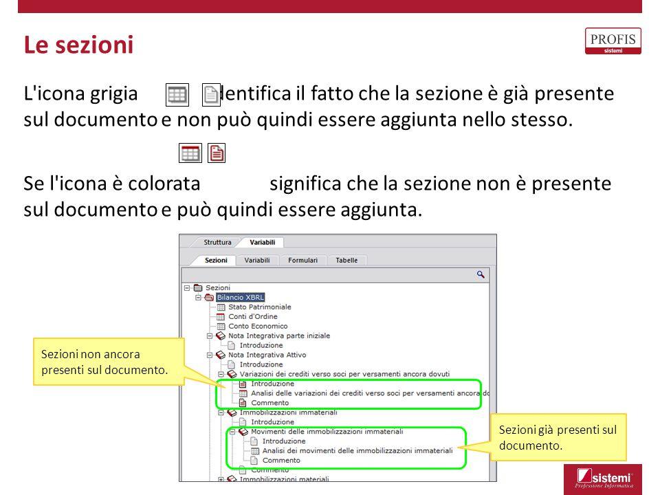 Le sezioni L icona grigia identifica il fatto che la sezione è già presente sul documento e non può quindi essere aggiunta nello stesso.