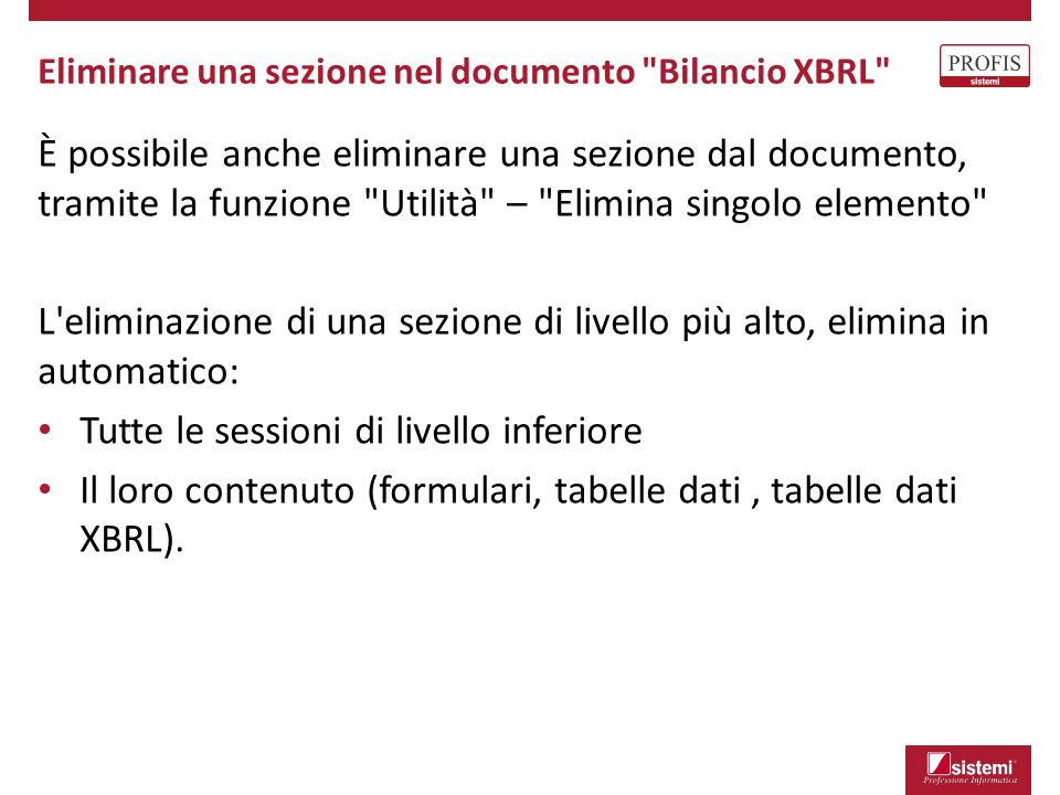Eliminare una sezione nel documento Bilancio XBRL