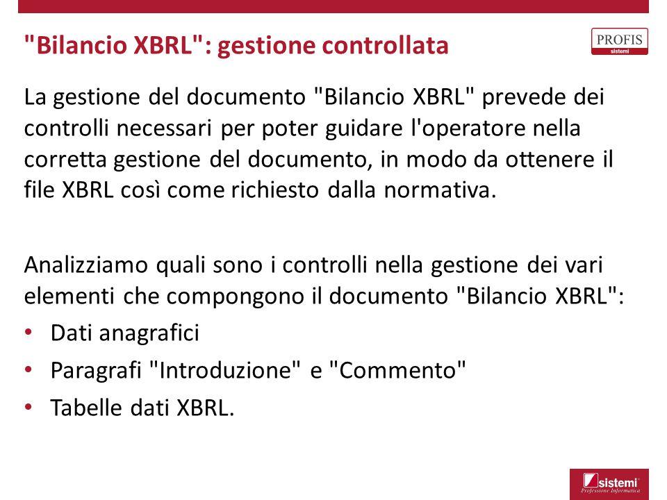 Bilancio XBRL : gestione controllata