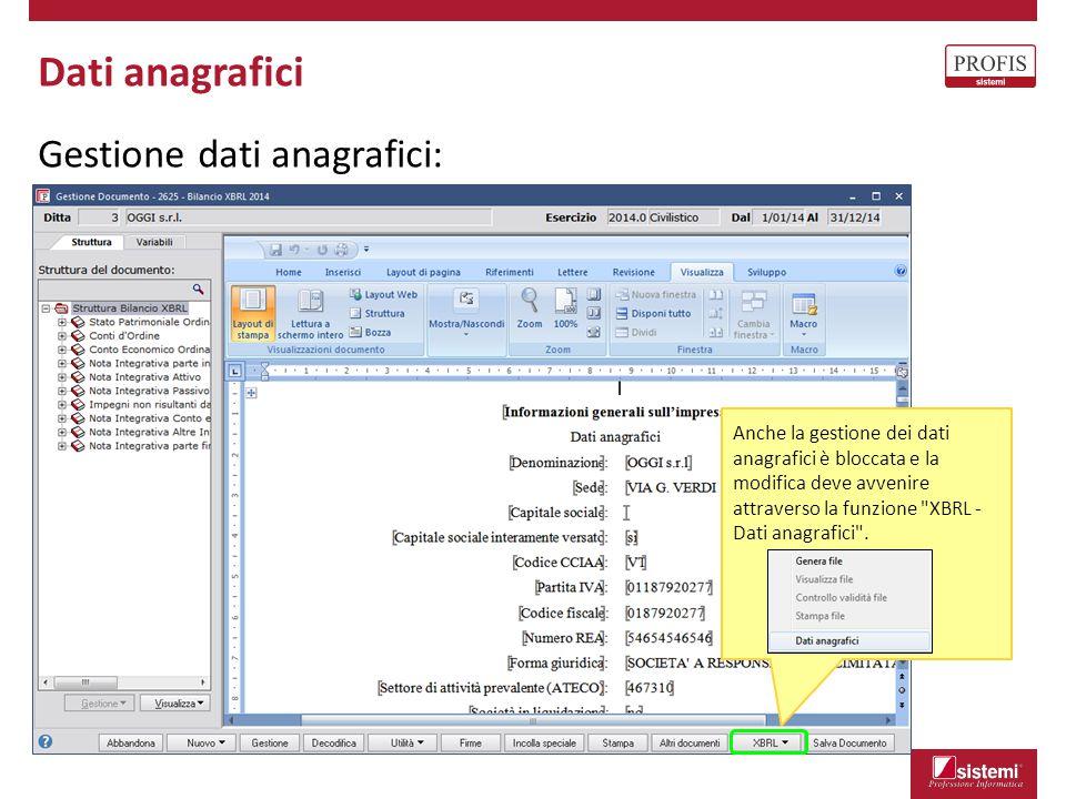 Dati anagrafici Gestione dati anagrafici: